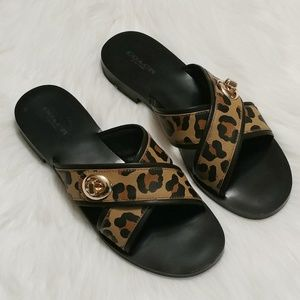 NWOT Coach Coral Sandals w/ Cheetah Print